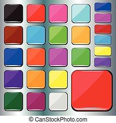 barvitý, čtverec, buttons.