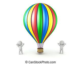 barvitý, balloon, stavět na odiv, fandění, horký, osoby, 3