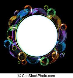 barvitý, bublina, vektor, grafické pozadí