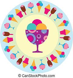 barvitý, chutný, poleva- zmrzlina, ikona, vectro, ilustrace