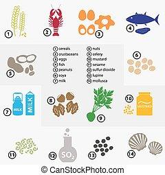 barvitý, dát, o, typický, strava, alergens, jako, restaurace, a, jídlo, eps10