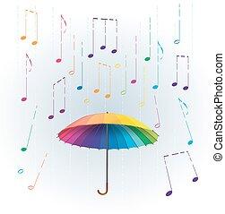 barvitý, duha, deštník, s, stylizovaný, jako, déšť, padající, hudební, věnovat pozornost., abstraktní, hudební, ilustrace