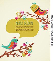 barvitý, grafické pozadí, s, šikovný, ozdobný, ptáci