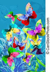 barvitý, ilustrace, o, motýl
