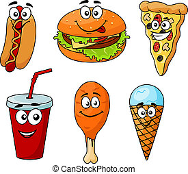 barvitý, karikatura, dát, o, hustě food, ikona
