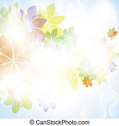 barvitý, léto, pramen, grafické pozadí, s, květiny