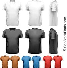 barvitý, mužský, t-shirts., design, template., vector.