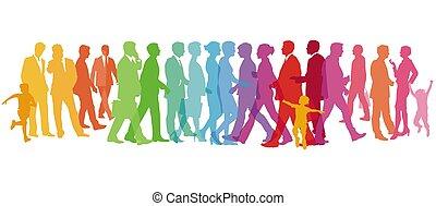 barvitý, národ, ilustrace, -, vektor, skupina, velký