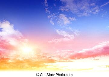 barvitý, nebe, a, východ slunce