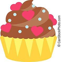 barvitý, osamocený, čokoláda, cupcake, ozdobený, s, herce