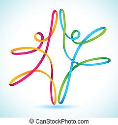 barvitý, swirly, znak, tančení