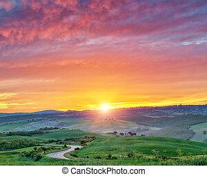 barvitý, toskánsko, krajina, východ slunce