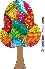 barvitý, vektor, strom, s, neobvyklý