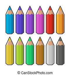 barwa, wektor, pencils.