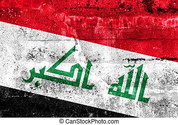 barwiona ściana, bandera, irak, grunge
