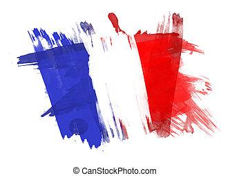 barwiony, bandera, białe tło, francja