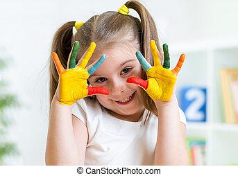 barwiony, dziewczyna, palce, dziecko