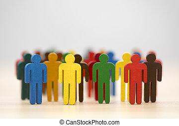 barwiony, figury, grupa, barwny, ludzie