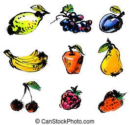 barwiony, fruits., komplet, ilustracja, ręka