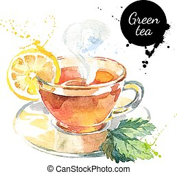 barwiony, herbata, ilustracja, ręka, akwarela, wektor,...
