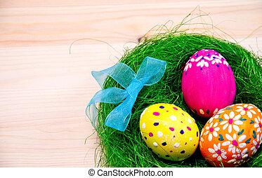 barwiony, jaja, łuk, trawa, wielkanoc, gniazdo