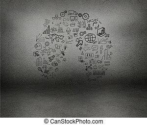 barwiony, na, ściana, wykresy, symbolika, i, wykresy