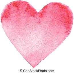 barwiony, serce, hand-drawn, czerwony
