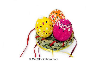 barwiony, wstążki, jaja, trawa, wielkanoc, gniazdo