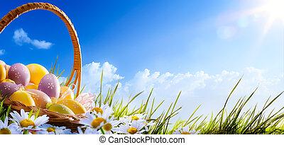 barwne kwiecie, błękitny, wielkanocna trawa, ozdobne jajka