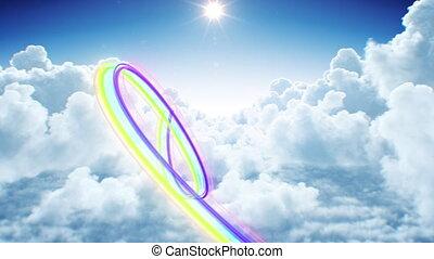 barwny, 3d, fałdzisty, futurystyczny, sky., hd, ożywienie, ...