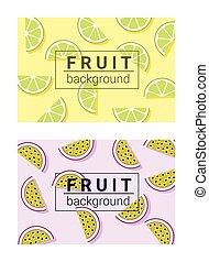 barwny, 4, tło, owoce