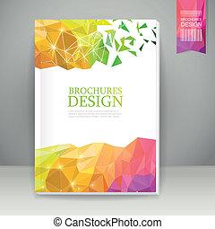 barwny, abstrakcyjny, geometryczny, tło, broszura