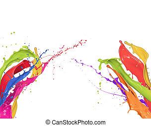 barwny, abstrakcyjny, odizolowany, formułować, plamy, tło, biały