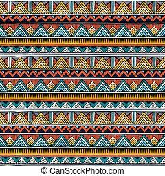 barwny, abstrakcyjny, pattern., seamless, tło., wektor, plemienny