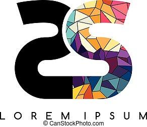 barwny, abstrakcyjny, początkowy, logotype, geometryczny, litera, logo
