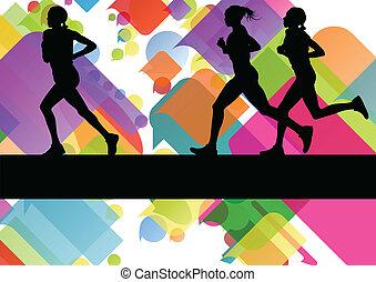 barwny, abstrakcyjny, wektor, biegacze, tło, sport, maraton