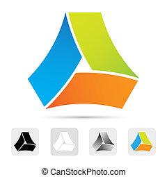 barwny, abstrakcyjny zamiar, element., logo