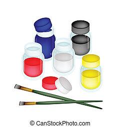 barwny, artysta farbują, szczotki, malować, słoje