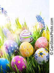 barwny, błękitny, wielkanoc, niebo, sztuka, trawa, tło, jaja