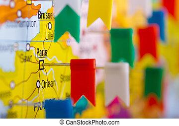 barwny, bandery, na, przedimek określony przed rzeczownikami, mapa, od, europa