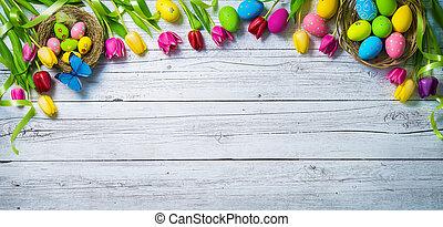 barwny, barwiony, tulipany, jaja, tło., motyle, wiosna, wielkanoc