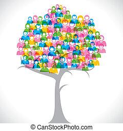 barwny, biznesmeni, drzewo