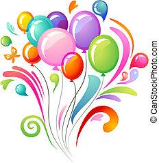 barwny, bryzg, z, balony