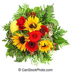 barwny, bukiet, wiosna, słonecznik, gerber, flowers., róże