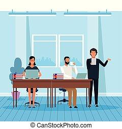 barwny, businesspeople, projektować, rysunek, pracujący