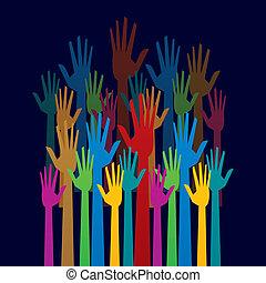 barwny, do góry, demokracja, ręka, pojęcie