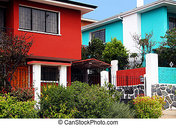 barwny, domy, od, valparaiso, chile