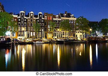 barwny, domy, w, amsterdam, w nocy