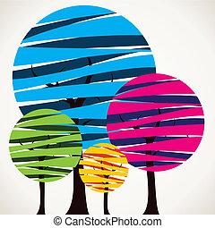 barwny, drzewo, abstrakcyjny