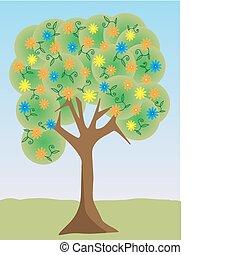 barwny, drzewo, pastel, wektor, kwiat